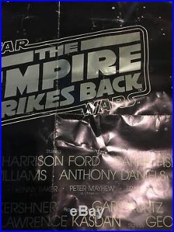Vintage 1981 Advanced One Sheet Star Wars Empire Strikes Back Original RARE