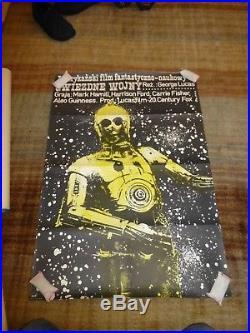 Vintage original POLISH Star Wars poster. C3PO in star field